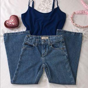 ARIZONA Adj Waist Boot Cut Blue Jeans 5 Pkt 6 Slim